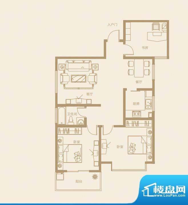 诚发·都市新城C户型面积:109.00m平米