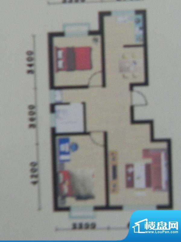 盛华景苑2房H/H1户型面积:93.04m平米