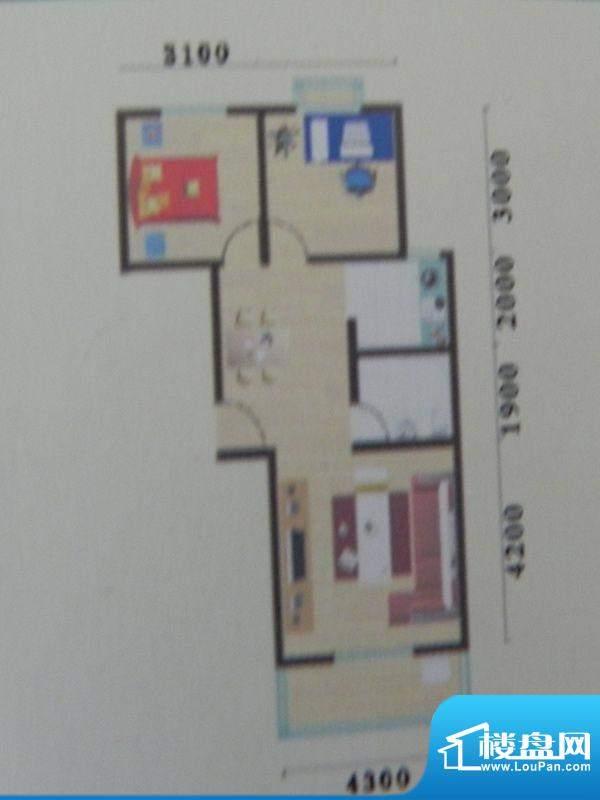 盛华景苑2房C1户型 面积:61.39m平米
