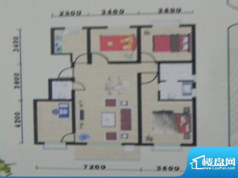 盛华景苑3房A户型 3面积:129.84m平米