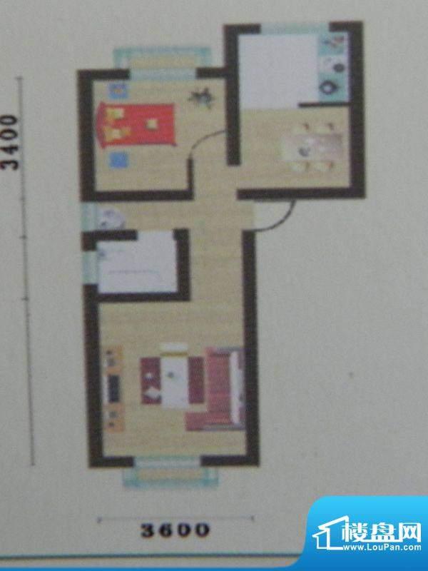 盛华景苑1房H2户型 面积:53.93m平米