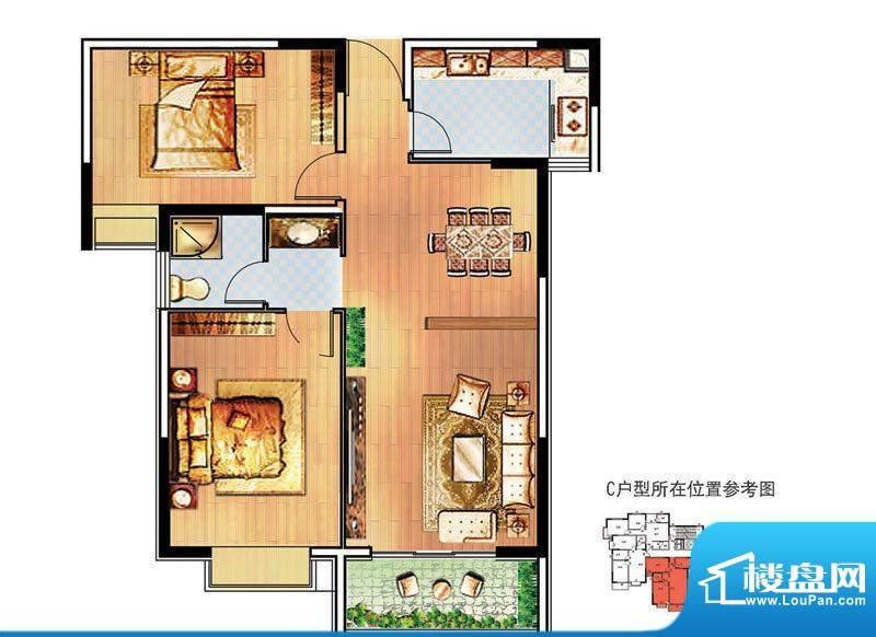 万事达生活广场1#C户面积:102.55m平米