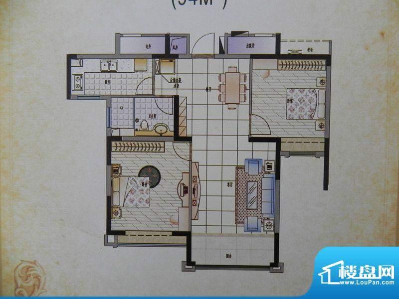 香格里拉2房A1X户型面积:94.00m平米