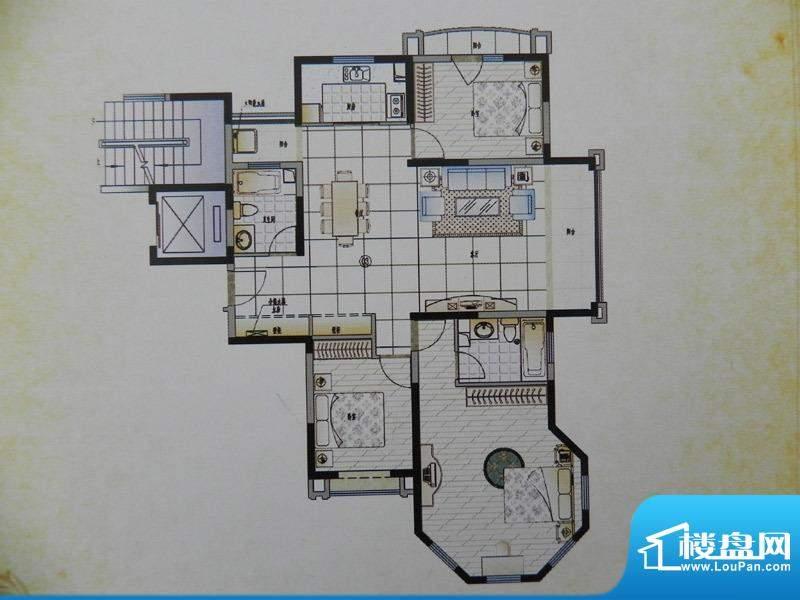香格里拉3房B3X户型面积:145.00m平米
