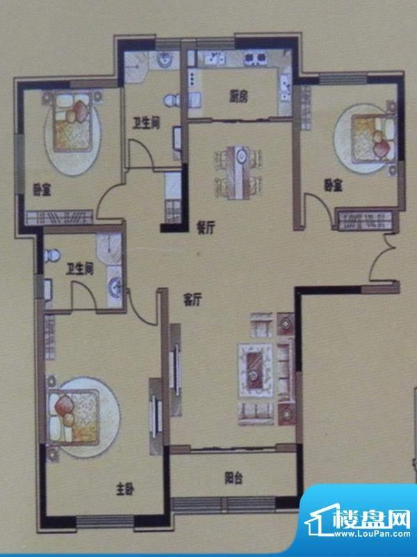 三榆山水文园3房F户面积:141.38m平米