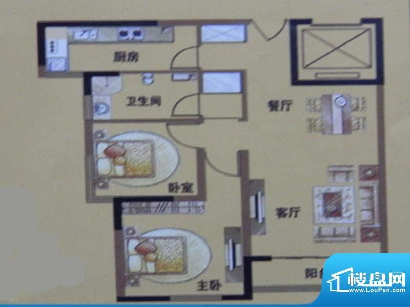 三榆山水文园2房B户面积:99.00m平米