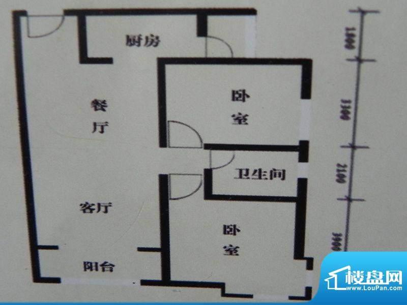 盛泽名城B2户型 2室面积:102.74m平米