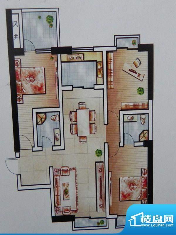 世纪丽都3房C户型 3面积:127.00m平米