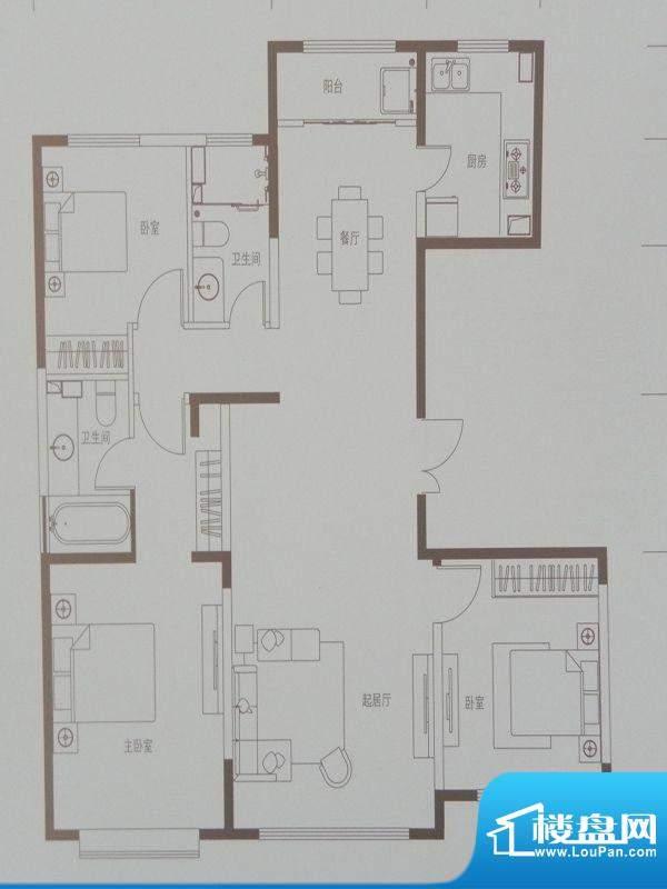 新华联广场A户型 3室面积:138.92m平米
