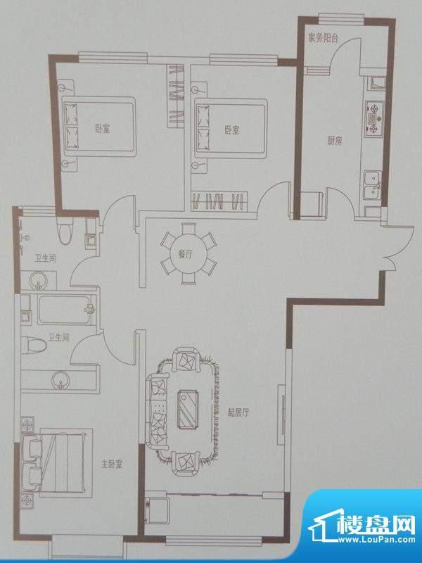 新华联广场C-1户型 面积:140.51m平米