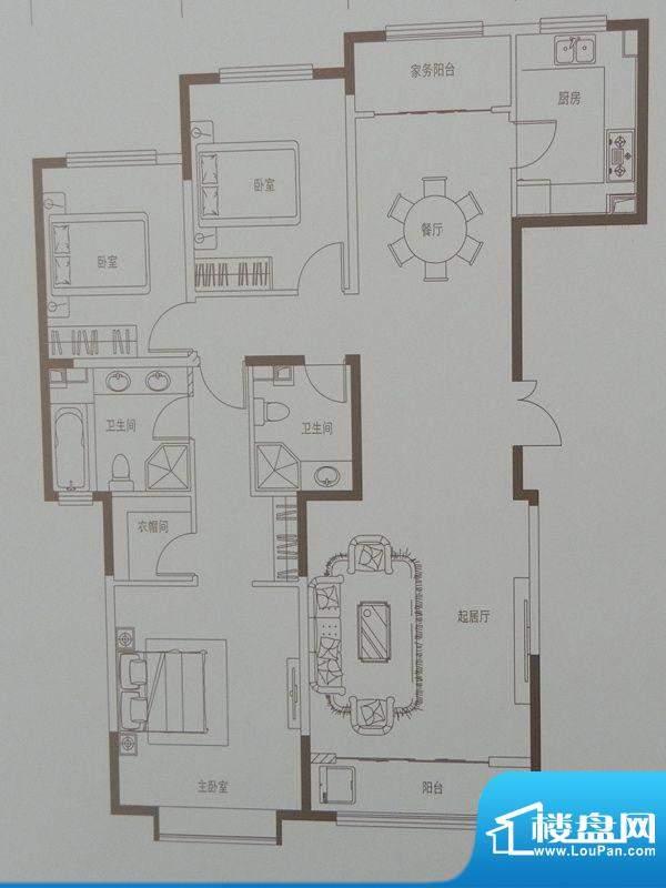 新华联广场D-1户型 面积:158.94m平米