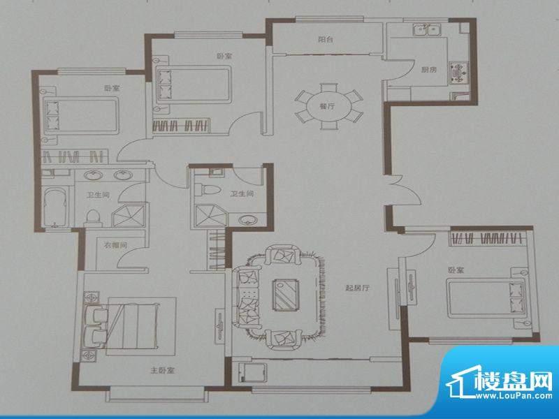 新华联广场D-2户型 面积:176.29m平米