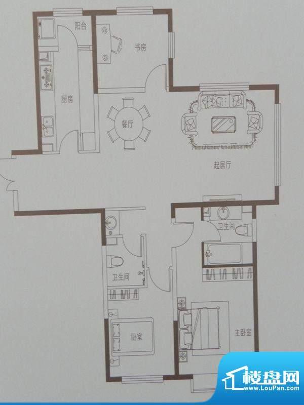 新华联广场C-2户型 面积:130.53m平米