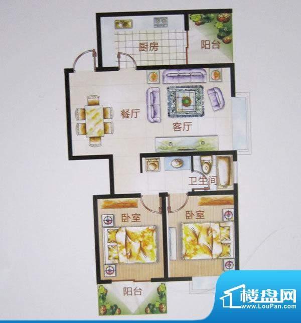 福成·金色嘉园H户型面积:96.15m平米
