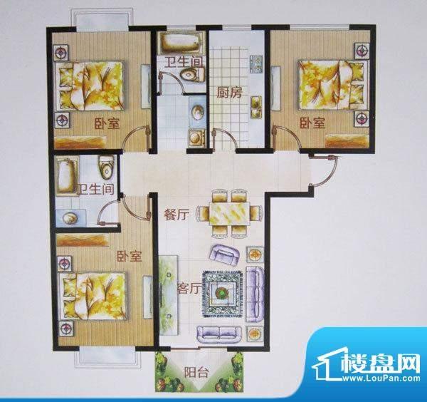 福成·金色嘉园E户型面积:122.74m平米