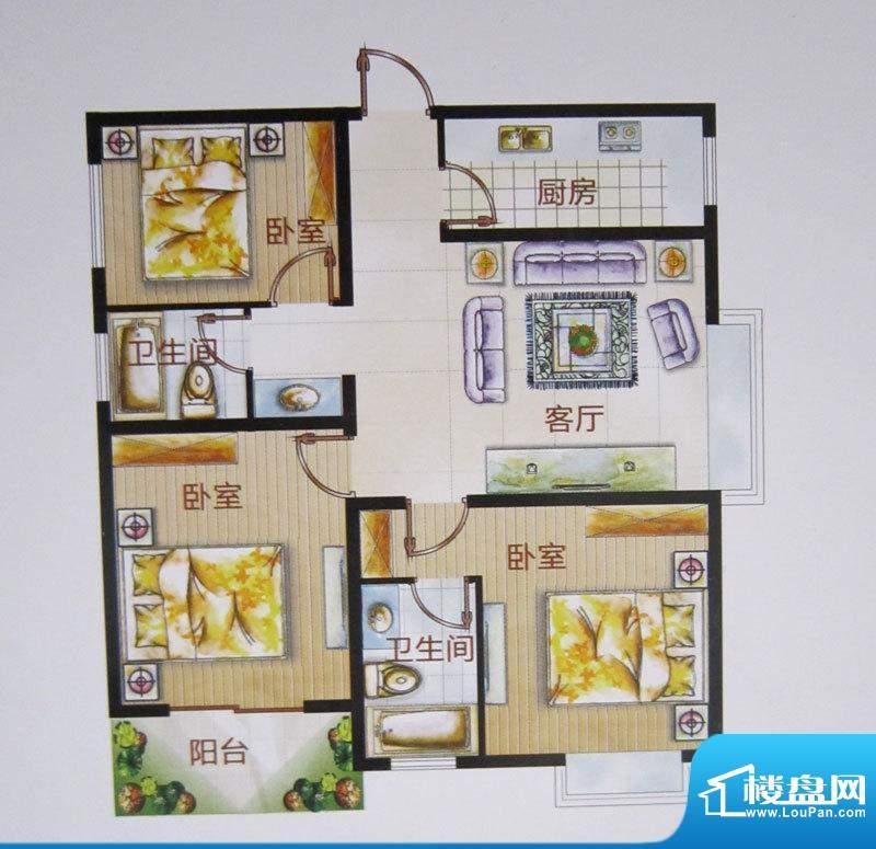 福成·金色嘉园F户型面积:109.08m平米