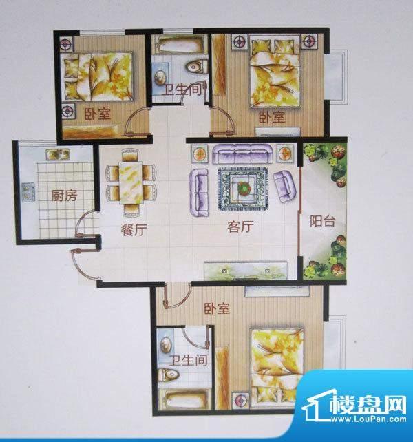 福成·金色嘉园J户型面积:127.45m平米