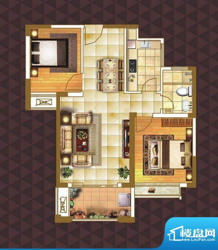 绿地臻城A1户型 2室面积:82.00m平米