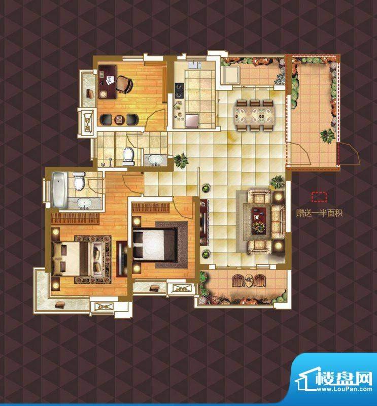 绿地臻城D4户型 3室面积:126.00m平米