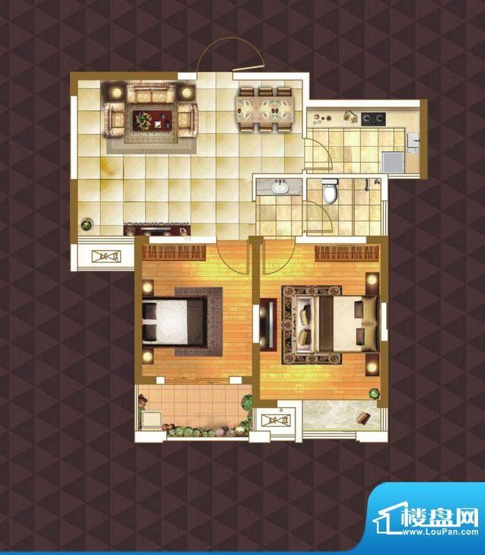 绿地臻城E2户型 2室面积:85.00m平米