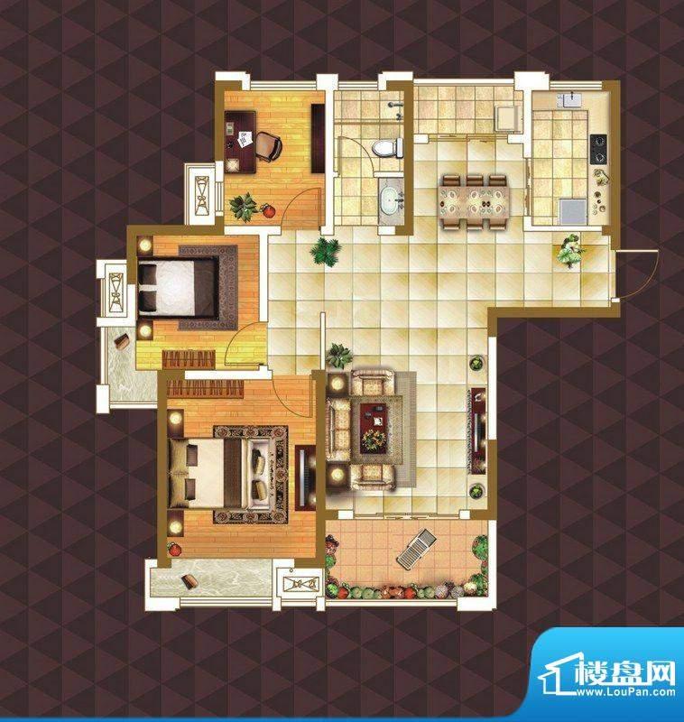 绿地臻城E3户型 3室面积:106.00m平米