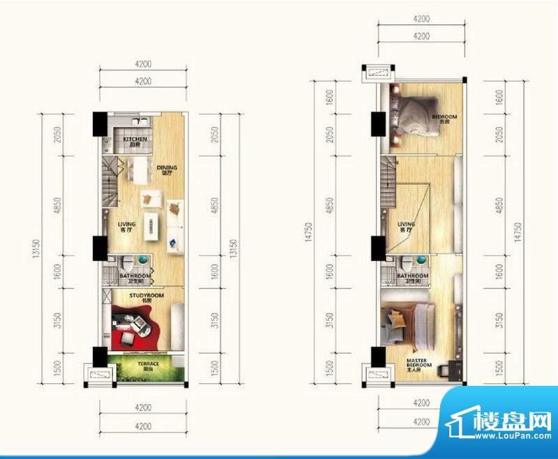 汇金广场MINI墅A户型面积:71.00m平米
