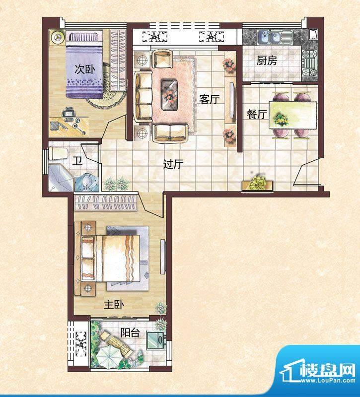 秀山湖壹号A户型 2室面积:85.80m平米