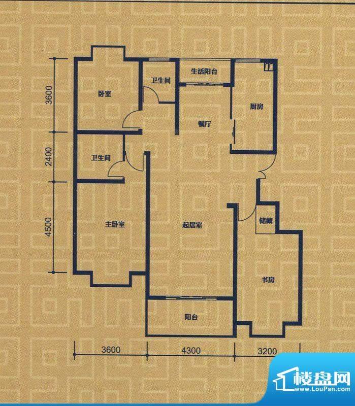 紫金城E1户型 3室2厅面积:139.99m平米