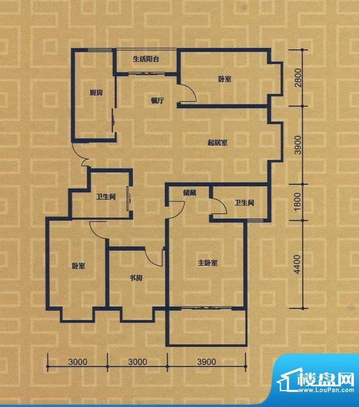 紫金城E2户型 4室2厅面积:149.23m平米