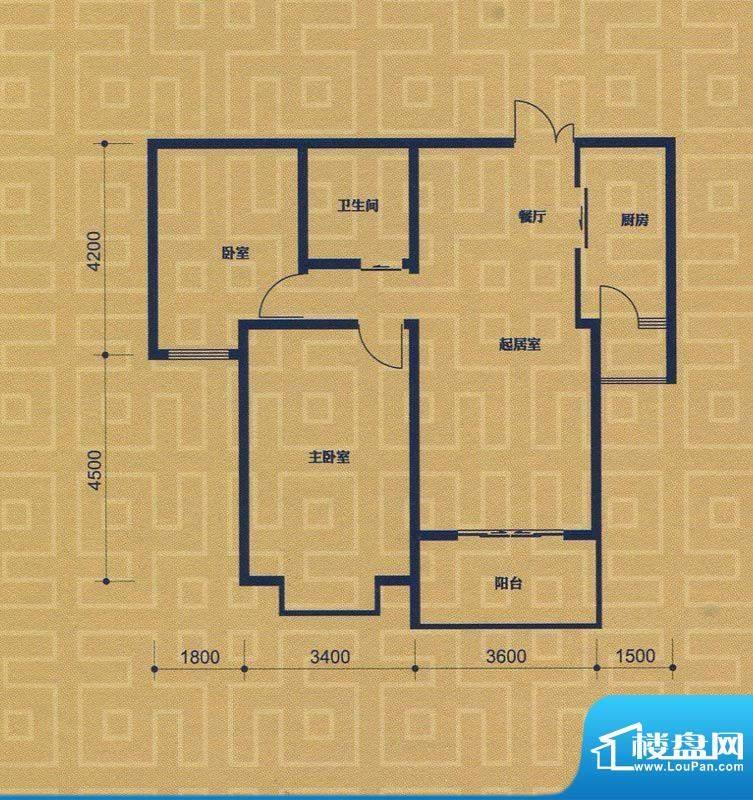 紫金城B2户型 2室2厅面积:87.83m平米