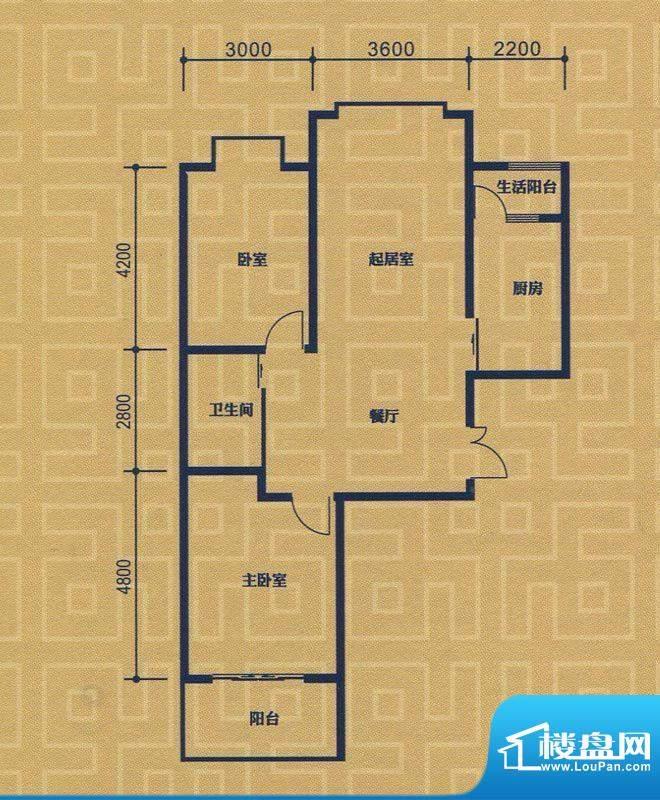 紫金城B1户型 2室2厅面积:96.52m平米
