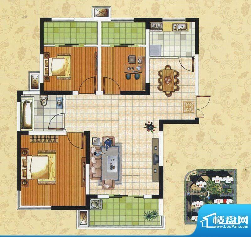 颐园世家A1户型 3室面积:90.08m平米