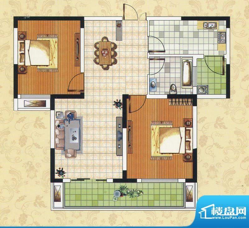 颐园世家A2户型 2室面积:88.72m平米