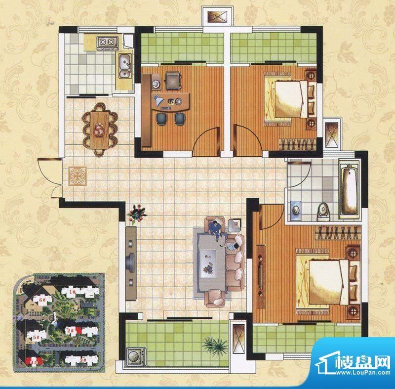 颐园世家B1户型 3室面积:88.56m平米