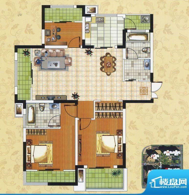 颐园世家B3户型 3室面积:104.77m平米