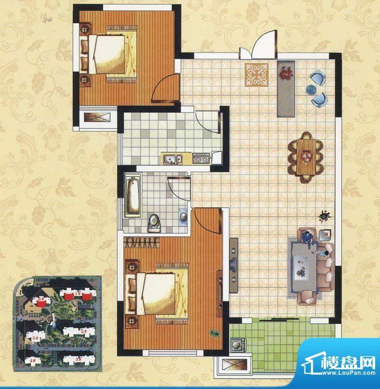 颐园世家C2户型 2室面积:86.57m平米