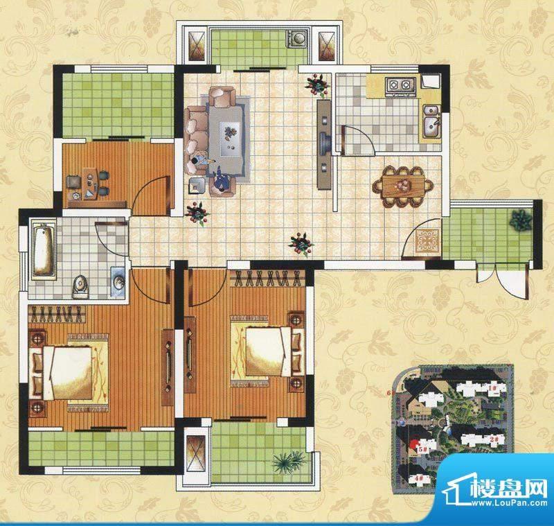 颐园世家C3户型 3室面积:87.60m平米