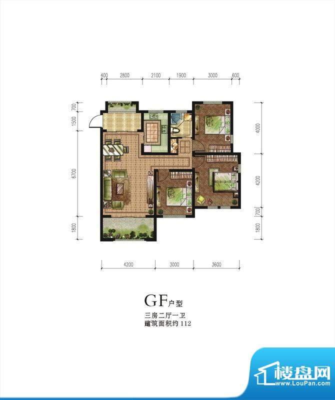 伟星蓝山GF户型 3室面积:112.00m平米