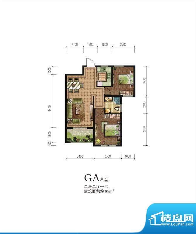 伟星蓝山GA户型 2室面积:85.00m平米