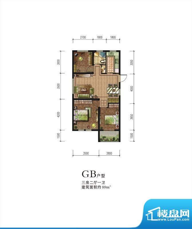 伟星蓝山GB户型 3室面积:89.00m平米