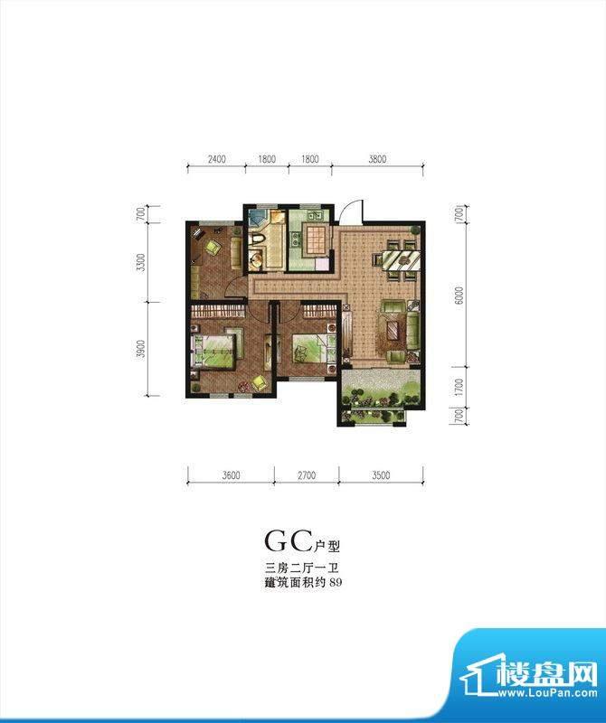 伟星蓝山GC户型 3室面积:89.00m平米