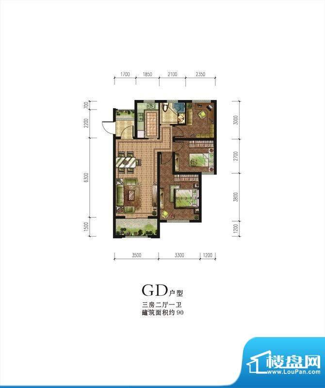 伟星蓝山GD户型 3室面积:90.00m平米
