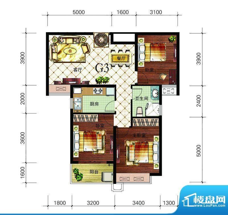 朝辉东方城4#G3户型面积:102.37m平米