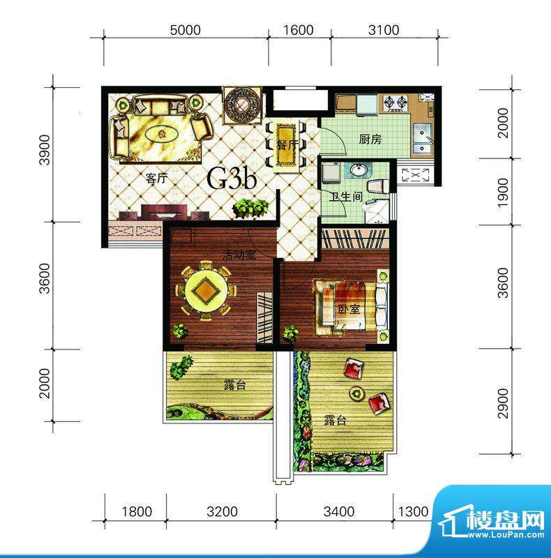 朝辉东方城4#G3b户型面积:74.47m平米