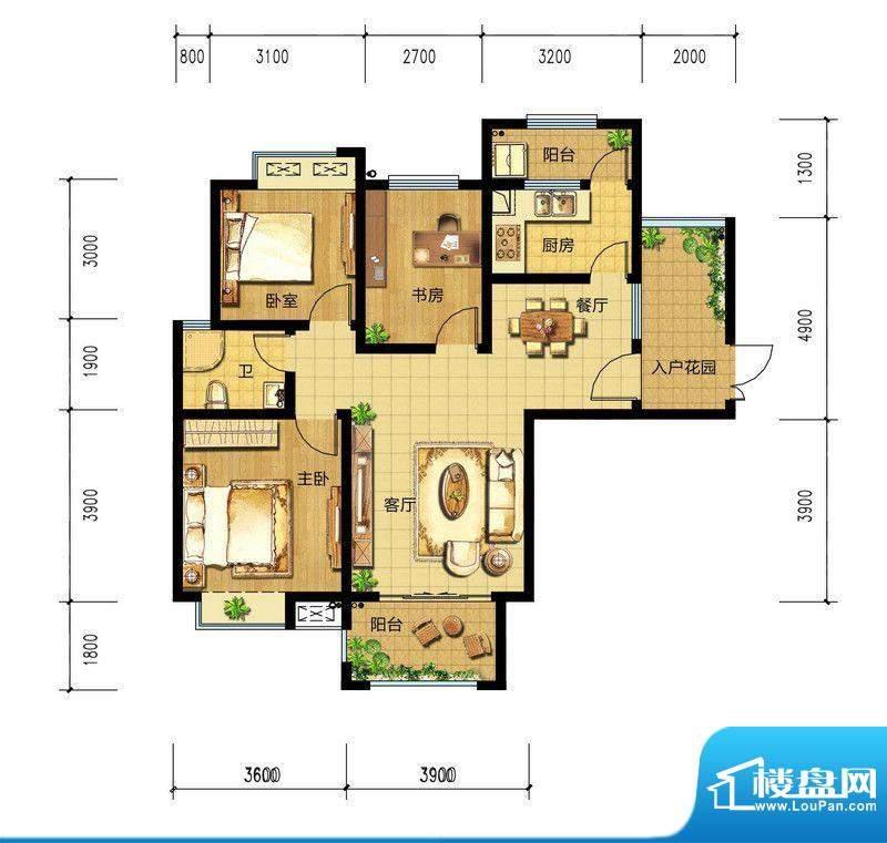 朝辉东方城5#C1户型面积:112.79m平米