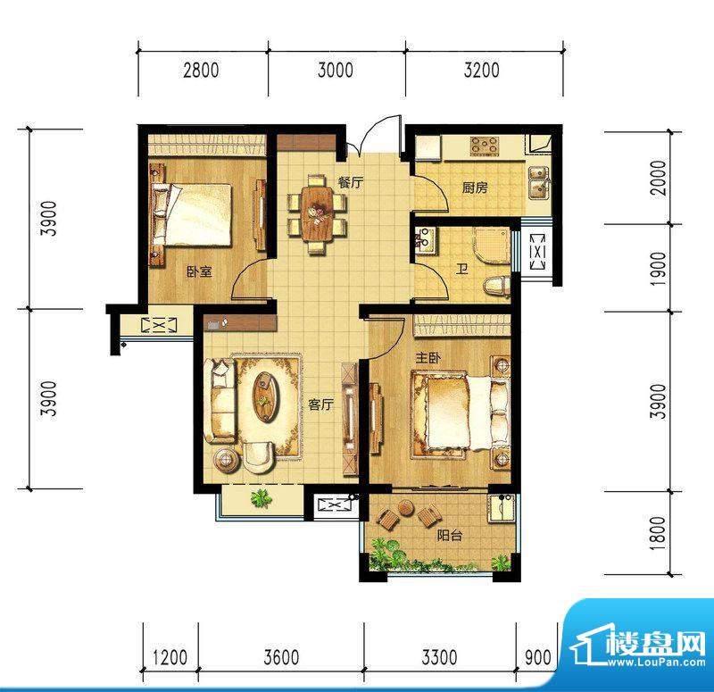 朝辉东方城5#C2户型面积:81.67m平米