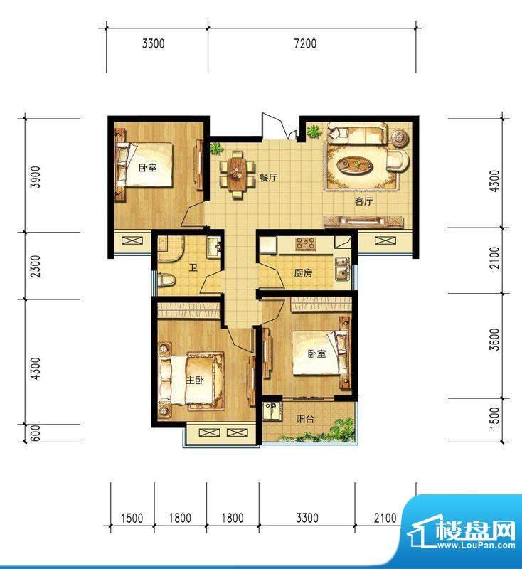 朝辉东方城16#F3户型面积:108.32m平米