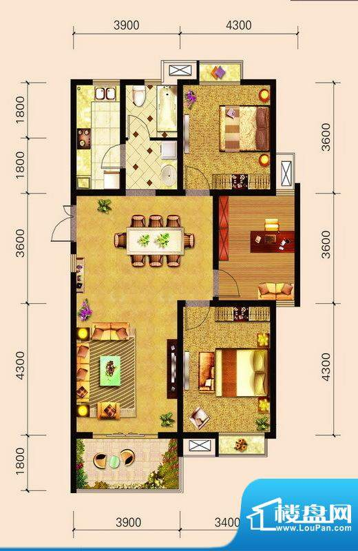 宁泽园G7户型图 3室面积:115.10m平米