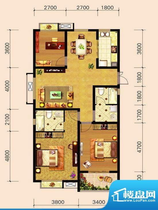 宁泽园G6户型图 3室面积:132.10m平米
