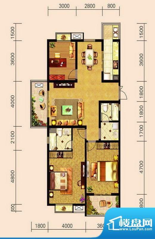 宁泽园G1户型图 3室面积:149.61m平米
